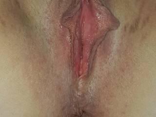 Nadja's horny holes, freshly shaven and ready to be fucked and inseminated.
