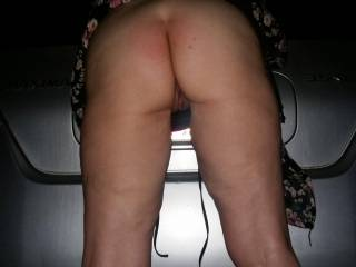Mr bent me over the trunk of my car at the mall for a pantie check...for being a good girl he finger ed me till I  cam hard....what a slutty feeling shopping with pussy juice running down my inner thighs.....