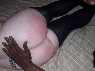 My wifes great ass! her best bodily feature! He just gave her a nice spanking! That turns her on!! See how her ass gets red!!