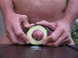 I really enjoyed seeing your big knob and foreskin squeeze back and forth through the zucchini. Also, it actually made me jump when your big cum spurt shot out.