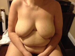 Mmm awesome tits....tug and stretch those big nipples for us