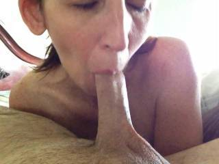 "Wife slowly sucking on the tip of my dick. It felt amazing. Looking for another couple or local with an 8+"" dick for her to play with. Can anyone make this dream a reality?"