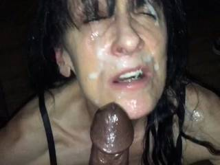 Emptying my balls on her face is how we love to end a great session of sucking cock