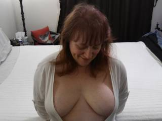 I wonder if they will like my tits... What do you think, guys? Is this too conservative of an outfit to go out on the town? I want those gentlemen to appreciate the scenery...