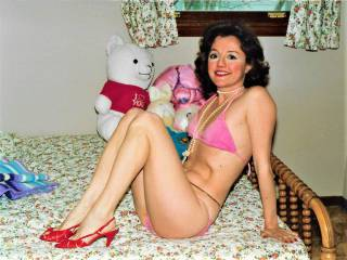 Draga in my old favorite bikini! With my best teddy bear!