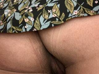 Wife showing me her pussy at work bent over in bathroom