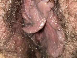 Close up of Kiki's hairy pussy