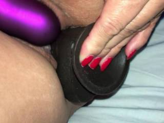 She is so wet and horny. Testing new big dildo, gets titfucked and has loud orgasm before she gets fucked
