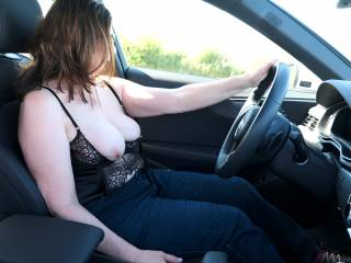 Driving with my boobs out