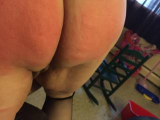 She wanted to try the cane across her ass. She took six swats...you can see the marks.