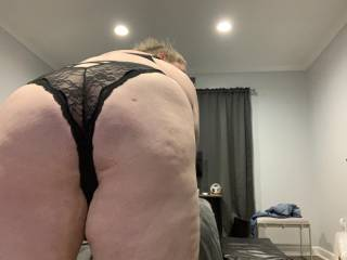 Bent over and ready. Show me how you cum on my ass.