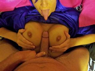 Oh yeah! Love to have my cock smashed by her great tits. And, when I'm ready to spurt my hot load... Just open up her sweet mouth for a great cum target.