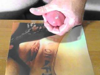 Jerking off my hard shaft to cum all over D&J\'s hot tasty pussy! Love her Tribute pic she made me!