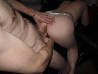 fucking doggy style just need another couple to join us..... woman underneath licking balls and pussy man getting a BJ from the front anyone interested ?......mmmm i love his bell end stretching my tight little pussy :-)