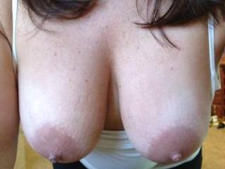 Yes for sure lucky you. She has a very nice and big and sexy set of tits. I bet the rest looks good too. Love to slide my stiff cock between them.