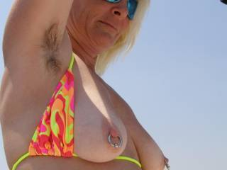 Wow, what a very sexy picture.....love the nipple bling and how you exposed your luscious tits!!