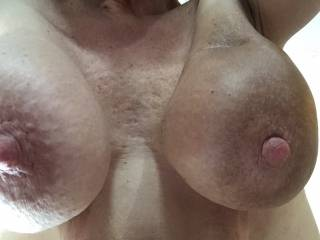 Love to have those heavy hangers beating me in the face while my hard cock is banging your sweet wet pussy. Mmm