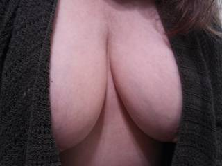 While at work, this luscious set of tits of Mrs. Shutterbug58 were texted to Hubby. She asked that he share them with the men at Zoig. The missus says that the men really need more of her hooters to enjoy and cum on.