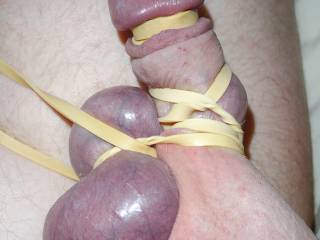 cock self bondage withh rubber bands
