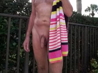 Just enjoyed a early morning skinny dip in the pool in our complex. Do you ever go swimming naked?