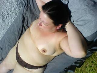 going topless in the garden i did get burned lol