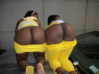with an old friend from pa on a trip to n.y.c., we were in a parking garage and i got them to show their asses...they just hopped up on a strangers car and let it all hang out...