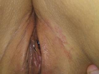 Wife has sweet wet pussy a little swollen this a.m....taking a break after round 1 of MFM with our friend