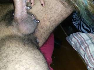 Getting huge pierced cock sucked