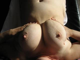 Fuck I want my cum dripping from those sexy tits!!