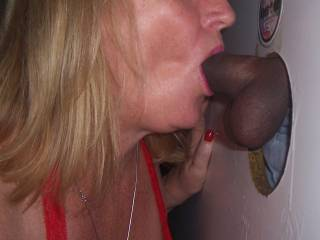 Ummm yes! She's sucking that load out of his hard cock :-)