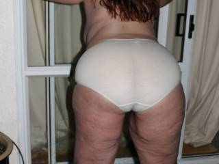 Magnificent.  Your butt fills out those big panties so well and they look so sexy and semi-sheer that it turns me on.