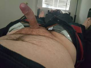 Great view. Big thick cock, huge head. Very suckable.