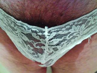 Found these cute lacy ones. It\'s a bit small for my cock, but love the lace.