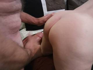 Hubby is ready to unload on my ass. I so love the feel of hot cum on my cheeks! Do you like creampies?