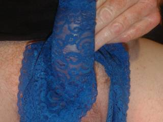 Stroking my hard cock with my GF's blue lace panties! Should I cum on them?