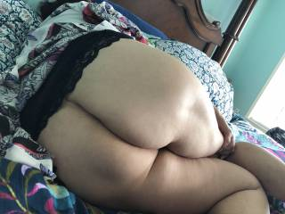 She says her ass is too big but I know it's soft sexy and loves sticky cum.   What do you think?