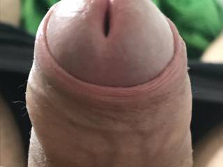 Foreskin a bit retracted ready to shoot the load