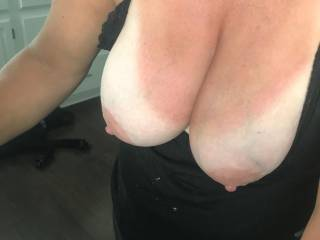 she can\'t keep her tits in her shirt...she loves your comments
