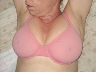 Your nipples behind the bra are so erotic.  I'd love to get my hands under that bra.