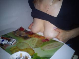 My sagging breasts and big nipples on the table for dinner