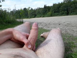 Just chilling outside with my big cock