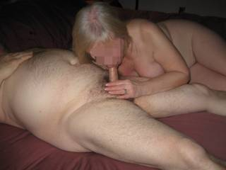 Wife blowing a friend.