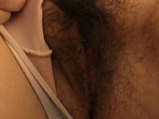 Me too! I love her beautiful bush! I'd love to bury my face in her gorgeous bush and feel her long,soft pussy hair on my face while I kiss and lick her delicious pussy and suck her clit for a few hours! May I?