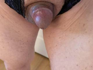 I thought that I would try on my crotchless panties.  My small Asian cock pokes through.