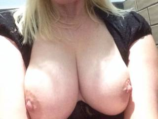 Wow, if I'd gotten that pic while you were out shopping, I would have had to drive to the store to find you, take you into the restroom, and fuck your brains out.  Your breasts look glorious
