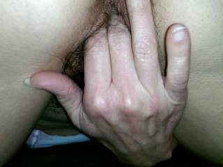 Love your hairy pussy and ass. PERFECT!!   Love watching you fingering yourself. I'd like a nice long taste after you were done playing. Then I'd slide my cock balls deep in you.