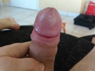 Some precum dripping from my cock
