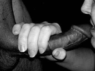 Handjob in black and white