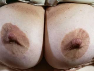 Holding my big tits up , for a good cum shot all.over them