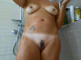 Last photos of the shower shoot. Let\'s call this behind the scenes.  What\'s her stronger part?